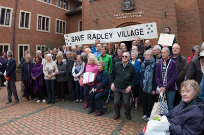 Community protest outside Abbey House on 4th April 2014. Photograph by Basil Crowley.