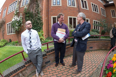Cllr Mike Murray (+ minder) and Graham Steinsberg outside Abbey House, 4th April 2014. Photograph by B Crowley.